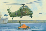 Wessex HU5 (XQ) 847 NAS Rescues Sir Galahad Survivors at Bluff Cove, Falkla